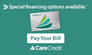 Special financing options available through care credit showing dental care credit card with Pay Your bill Button