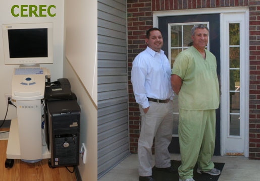 Dr Green and Dr Pawlecki by front door of dental office, and cerac same day crown machine inside the dentist's office near me in Delaware, Ohio
