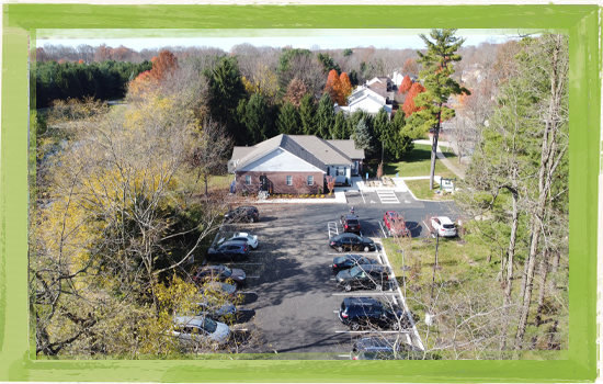 Best Delaware, Ohio dental office parking lot aerial view of Green Dental Delaware