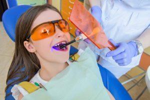 child in dental chair representing kids dentist in Delaware, Ohio